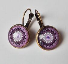 Ohrhänger Ethno Vintage Retro Mandala floral Cabochon lila violett antik bronze
