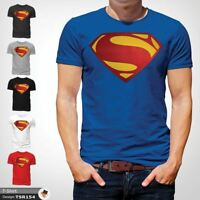 MENS SUPERMAN T SHIRT CLASSIC FIT DC COMICS XS S M L XL XXL NEW Blue