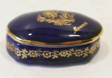 kleine blaue Limoges France Porcelaine Deckeldose Monaco 24Karat vergoldet