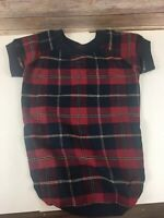 Company Store Dog Pajamas L Large Flannel Red Green Plaid Canine Shirt