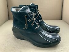 Sperry Saltwater Duck Boots Black Suede/Black Rubber size 6.5 NWOB