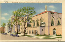 OLD POST CARD USA ETATS-UNIS KALAMAZOO MICH PRESBYTERIAN CHURCH AUDITORIUM