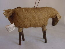 Very Primitive Burlap Sheep Ornament Honey & Me New