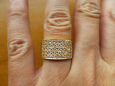 Vintage platinum 950 18k yellow gold diamond wide band wedding anniversary ring