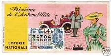 BILLET LOTERIE DIXIEME DE L AUTOMOBILISTE 1960 + TIMBRE