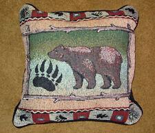 Bear Lodge ~ Bear Silhouette w/Bear Claw Tapestry Pillow