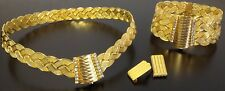 Türkisches Gold Schmuckset Trabzon Set 24 Karat vergoldet Kette Armreif Ohrringe