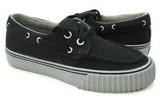 PF Flyers Boat Shoes Dionas Canvas Black/Gret Topsiders Mens 4 Womens 5.5