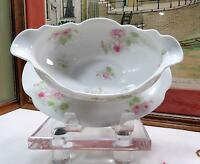 """ANTIQUE HAVILAND LIMOGES PINK FLORAL 8 5/8"""" GRAVY W/ATTACHED UNDERPLATE 1894-31"""