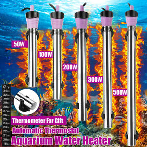 50-300W Fish Tank Heater Aquarium Thermostat Submersible Heating Rod + Cups
