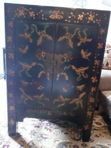 Chinese Black Lacquer Butterfly Cabinet (Hand Painted)
