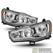 2008-2017 Mitsubishi Lancer EVO X Headlights Headlamps w/Chrome Bezel Left+Right