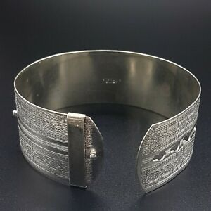 1970s Sterling Silver Buckle Bangle - 2.5cm Wide Fully Engraved - 28.98g