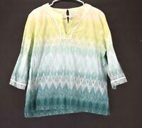 Alfred Dunner Women's Size 14P Petite Long Sleeve V-Neck Green Blouse