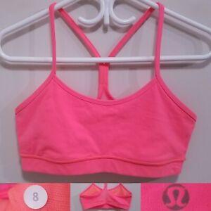 Lululemon Bright Peach Pink POWER Y Sports Bra Size 8 Medium