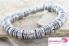 Elástica Plata Disco Cubic Zirconia Incrustada Rhinestone Pulsera cadena Cz