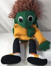 American Health Foundation Short Brown Yarn Hair Green Turtle Toad Hand Puppet