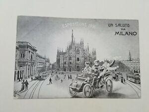 Cartolina Esposizione Automobile Macchina Automobilismo Milano 1906