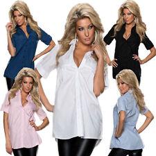 Hüftlang Damenblusen,-Tops & -Shirts mit Button Down-Kragen für Business