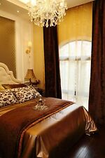 """Stunning Heavy Chocolate Brown Crushed Velvet 113""""D 76""""W Blackout Lined Curtains"""