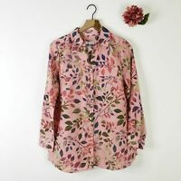 DENIM & CO Women's Tunic Top Button Front Roll Tab Sleeve Pink Floral S $44