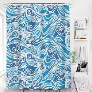 Shower Curtain Blue Geometry Stripe Waterptoof Polyester Mildew proof 180X180cm