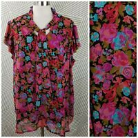 Plus Size 2X 18/20 Peasant Pullover Top Floral boho tunic Festival lined ruffle