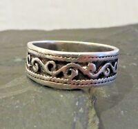 Wundervoller 925 Silber Ring Muster Unisex Damen Herren Sterling Modern Chic Top