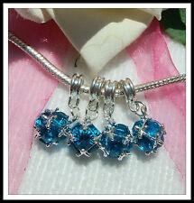 Glass Blue European Jewellery Charms