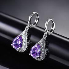 HUCHE Elegant Purple Amethyst White Gold Filled Drop Dangle Lady Party Earrings