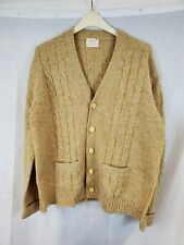 Vintage THANE Beige Wool Sweater Cardigan with Pockets Size XL