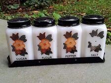 Rare Vintage Tipp Mckee Plaid Flowers Shakers Salt Pepper Sugar Flour Range Set