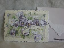 Carol's Rose Garden - Happy Birthday - Purple & White Pansies on cover