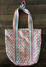 Justice Fabric Canvas Bag Purse Pink Blue Hearts Inside Pocket