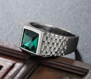 DAINTY Men Women Green Cubic Zircon Stone Silver Titanium Steel Ring Size 8-11