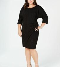 NEW Robbie Bee Women's Black Glitter Side Side Tie Wrap Dress Plus Size 3X