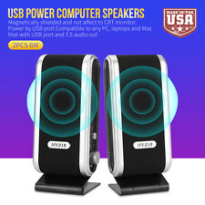 For Pc Laptop Computer Mac 3.5mm Audio Jack Usa Wired Usb Power Speakers Stereo