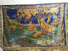 Vintage Silk Carpet with Deers. Made in DDR  1970s (GDR, Germany)