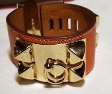 Hermes Bracelet Orange Collier De Chien CDC Cuff HERM¨¨S White / Gold.