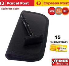 Full Black Men Shaving Safety Razor +15 Free Razor Blades & Travel Pouch Kit