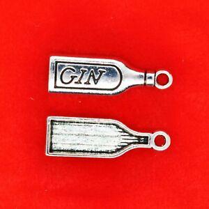 10 x Tibetan Silver Bottle of Gin Wine Bottle Charms Pendants