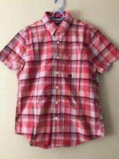 Lote: Abercrombie & Fitch para Hombre comprobado Popelín Camisa Manga Corta S Azul o Rojo