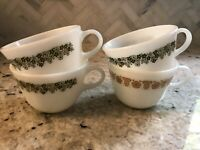 Set of 4 Vintage Pyrex Crazy Daisy Butterfly Gold Coffee Tea Cups Mugs White
