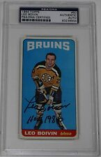 LEO BOIVIN SIGNED 1964 TOPPS HOCKEY CARD #50 PSA/DNA AUTHENTICATED BRUINS
