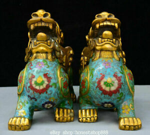 """10.8"""" Old China Cloisonne Feng Shui Pixiu Beast Unicorn Lucky Wealth Statue Pair"""