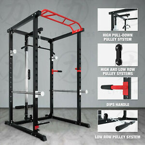 【Brand New】Power Rack Cage w/ Lat Pull Down Dip Bar Bench Press Squats Home Gym