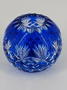 """Crystal Cobalt Blue 4"""" Rose Bowl ESSEX clear Industries Cut to clear NICE"""