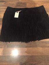 BNWT Black Suede Tassel Skirt Forever 21 Size 29 Inch Waist