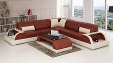 Modern Large LEATHER SOFA Corner Suite NEW Brown & Cream Modular