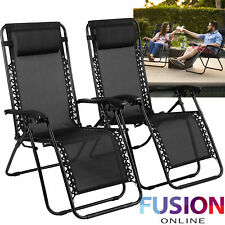 Zero Gravity Chair Sun Lounger Outdoor Garden Folding Reclining Adjustable x 2